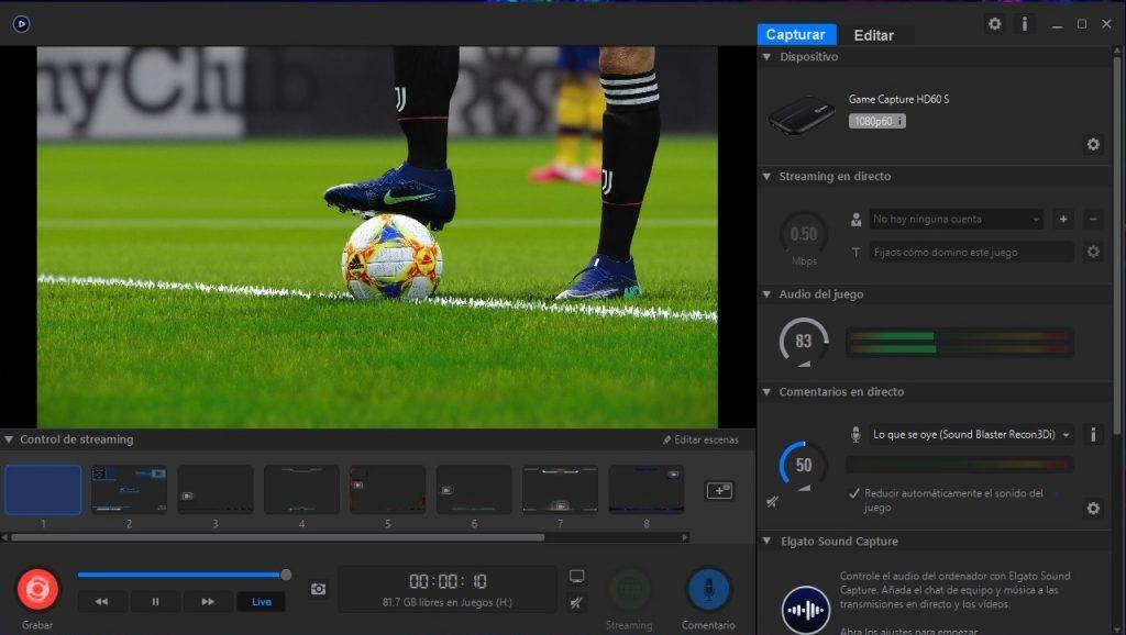 Software ElGato HD60 S grabando juego