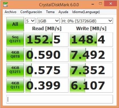 Prueba de rendimiento a Disco externo Toshiba Canvio Basics 4tb