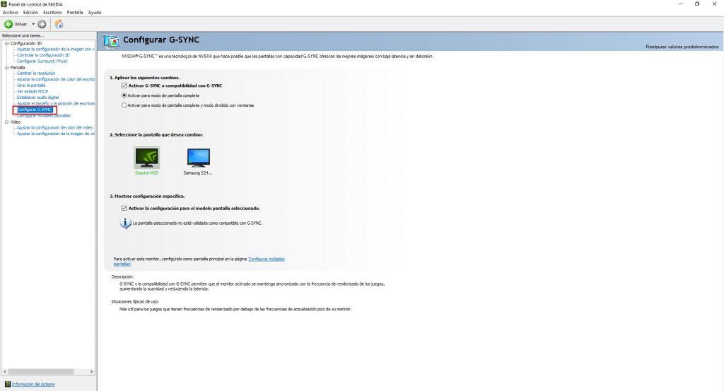 Activar FreeSync desde G.sync panel de control de nvidia
