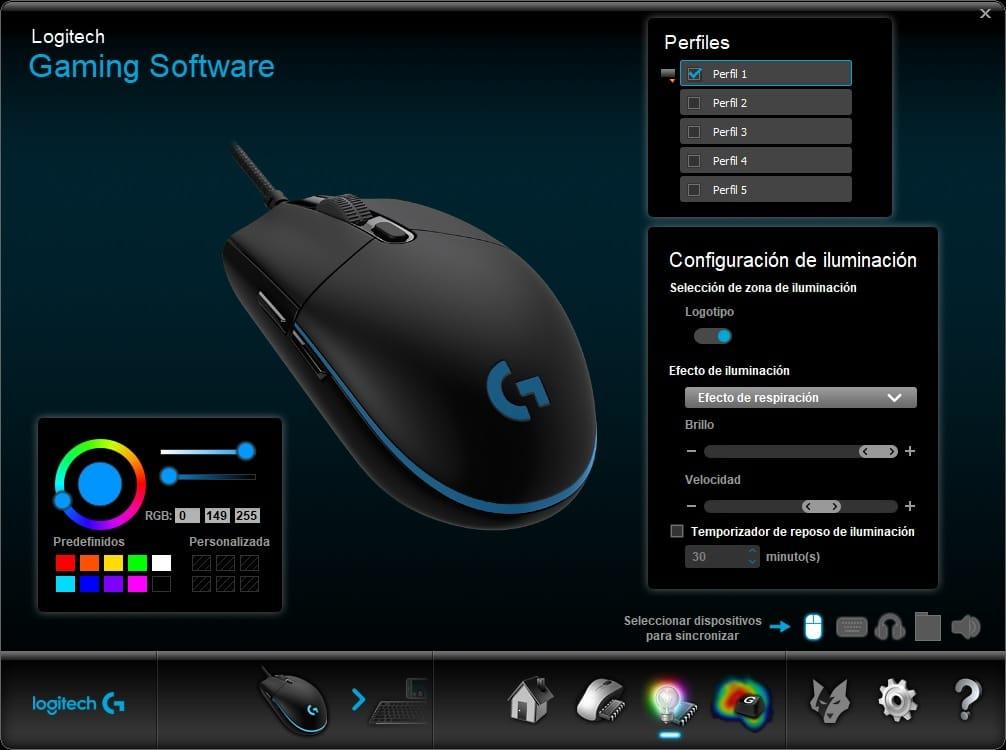 configuración de iluminación Logitech mouse