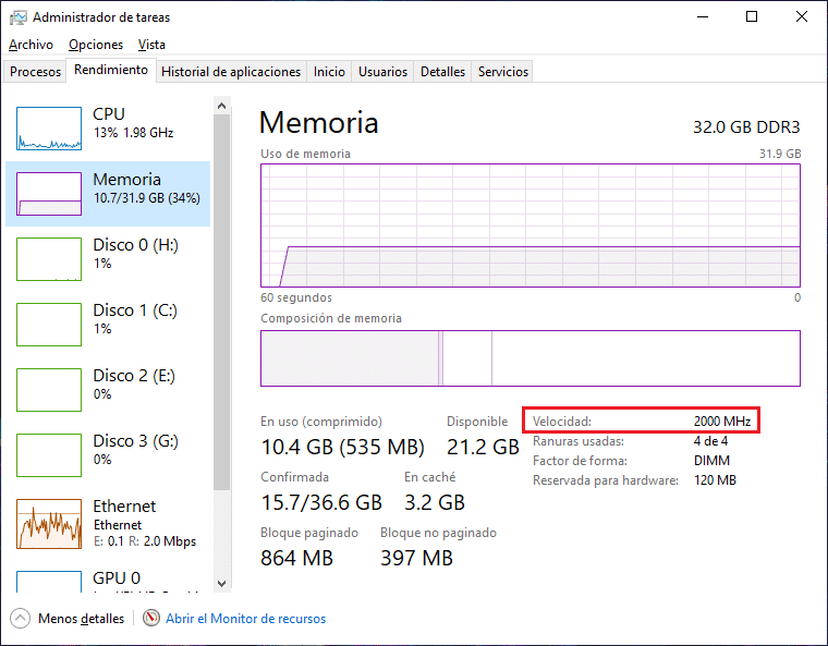 velocidad de memoria ram desde administrador de tareas