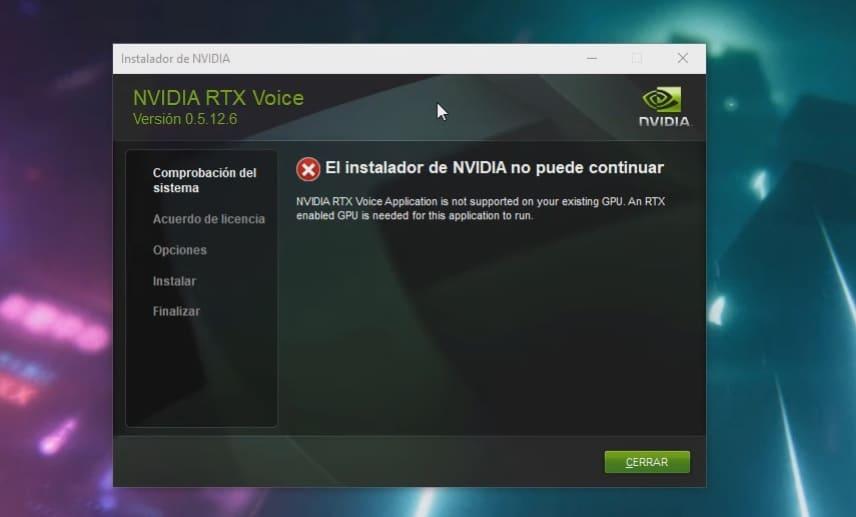 error al instalar RTX Voice