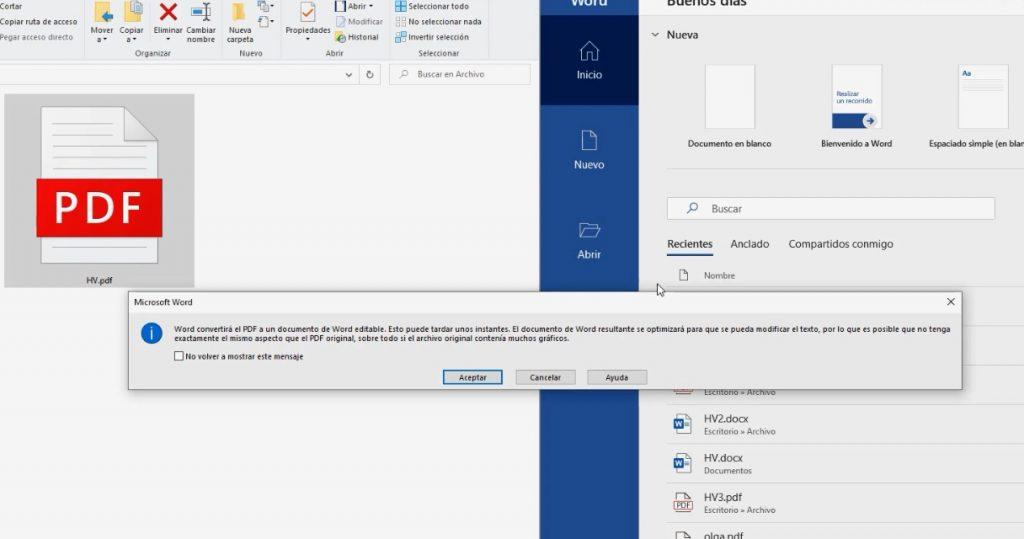 word convertirá el PDF a un documento de word editable. Esto puede tardar unos instantes